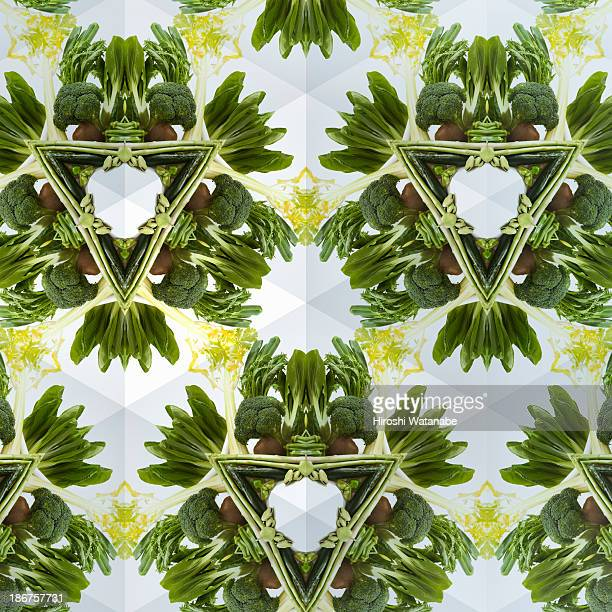 Kaleidoscope of green vegetables and fruits