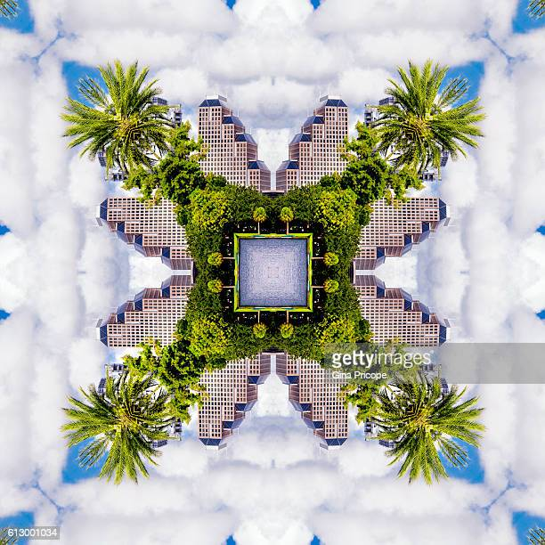 Kaleidoscope of modern buildings and palm trees