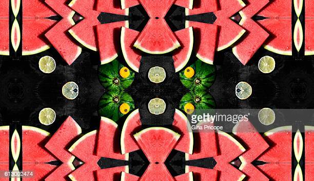 Kaleidoscope of watermelon and lemon.
