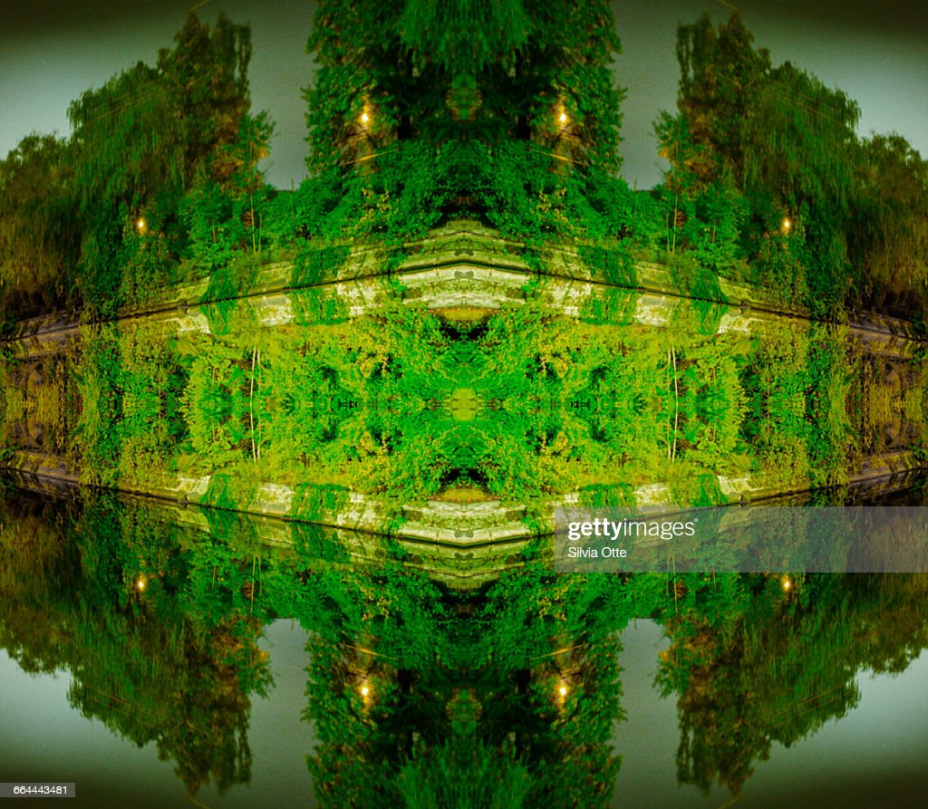 kaleidoscope photo of green trees by canal : Stock Photo