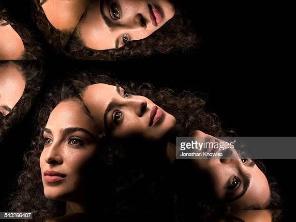 Kaleidoscope portraits of female looking away
