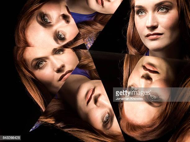 Kaleidoscope portraits of female looking up