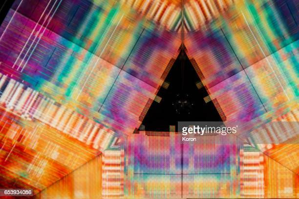 kaleidoscopic glitch- colorful triangle - glitch technique stock photos and pictures