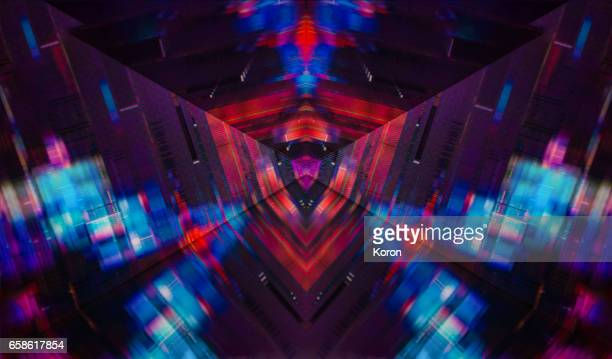 kaleidoscopic glitch - cube - glitch art stock photos and pictures
