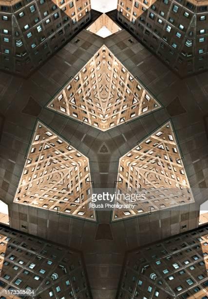 kaleidoscopic image of public housing project in berlin, germany - geometria fotografías e imágenes de stock