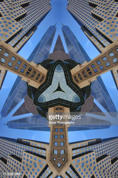kaleidoscopic image of the world financial center in lower manhattan (renamed brookfield place in 2014) - world financial center new york city stock pictures, royalty-free photos & images