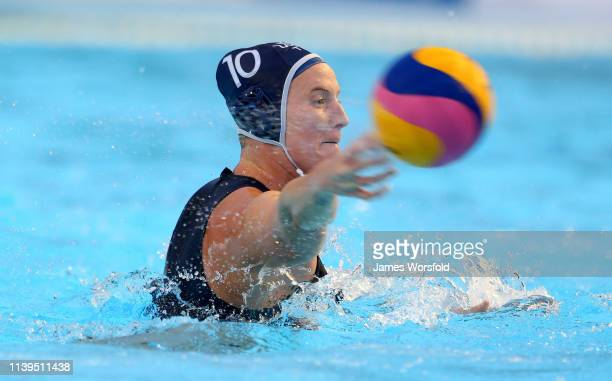 Kaleigh Gilchrist of the United States of America shoots for goal during the 2019 FINA World League Inter-Continental Cup Woman's Gold medal match...
