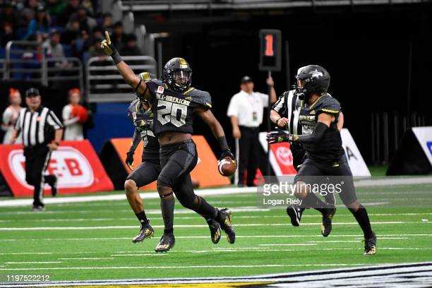 Kalel Mullings of East team celebrates after scoring against the West team during the first half of the AllAmerican Bowl held at the Alamodome on...