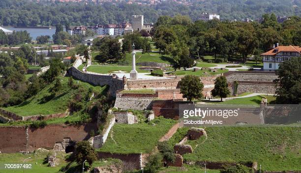 kalemegdan fortress, belgrade, serbia aerial view - belgrade serbia stock pictures, royalty-free photos & images