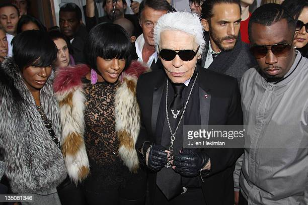 LR Kalenna Dawn Richards Karl Lagerfeld and Sean 'P Diddy' Combsattend the Dior Homme fashion show as part of Paris Menswear Fashion Week Fall/Winter...