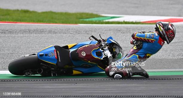 Kalex British rider Sam Lowes reacts after a crash during the Moto2 race at the Styrian Grand Prix on August 23, 2020 at Red Bull Ring circuit in...