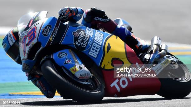 TOPSHOT Kalex EG 00 Marc VDS Spanish's rider Alex Marquez competes during a Moto2 free practice session ahead of the French Motorcycle Grand Prix on...