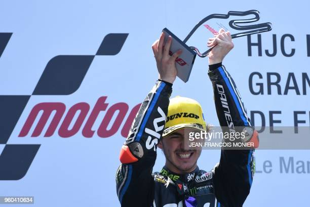 Kalex Sky Racing Team VR46 Italian rider Francesco Bagnaia celebrates on the podium after winning a Moto2 race of the French Motorcycle Grand Prix on...