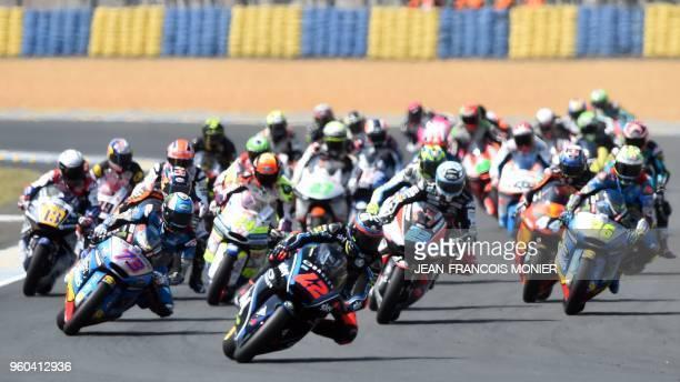 Kalex Sky Racing Team VR46 Italian rider Francesco Bagnaia competes in the lead ahead Kalex EG 00 Marc VDS Spanish rider Alex Marquez during the...