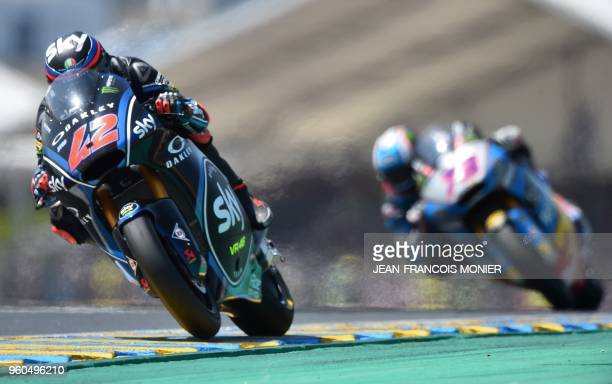 Kalex Sky Racing Team VR46 Italian rider Francesco Bagnaia leads during the Moto2 race of the French Motorcycle Grand Prix on May 20 2018 in Le Mans...