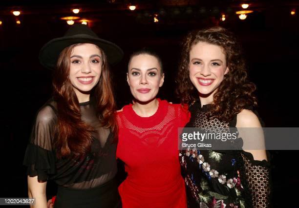 Kaley Ann Voorhees Meghan Picerno and Eryn LeCroy pose at the 32nd Anniversary Performance and Party for The Phantom of The Opera on Broadway at The...
