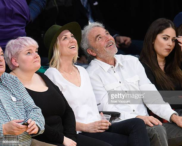 Kaley Cuoco and her father Gary Carmine Cuoco attend a basketball game between the Houston Rockets and the Los Angeles Lakers at Staples Center on...