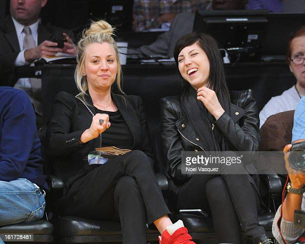 Kaley Cuoco and her sister Briana Cuoco attend a basketball game between the Los Angeles Clippers and the Los Angeles Lakers at Staples Center on...