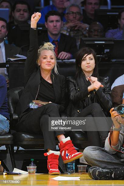 Kaley Cuoco and her sister Briana Cuoco attends a basketball game between the Los Angeles Clippers and the Los Angeles Lakers at Staples Center on...