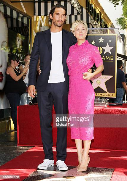 Kaley Cuoco and husband Ryan Sweeting attend the ceremony honoring Kaley Cuoco with a Star on The Hollywood Walk of Fame on October 29 2014 in...