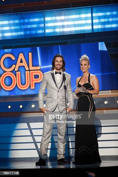 Kaley Cuoco and Jack Owen presents during The 48th Annual Academy of Country Music Awards which will be cohosted by Luke Bryan and Blake Shelton will...