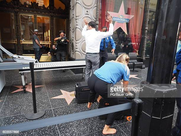 Kaley Cuoco and Jimmy Kimmel are seen filming on Hollywood Boulevard on September 12 2016 in Los Angeles California