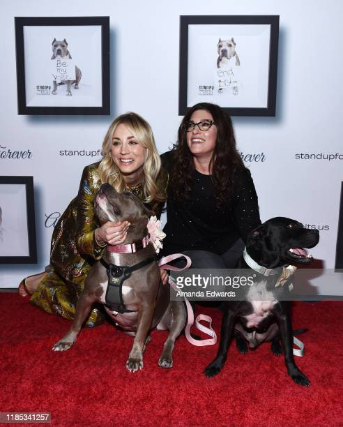 Kaley Cuoco and Rebecca Corry arrive with Sally and Todd the Pitbulls at the 9th Annual Stand Up For Pits event hosted by Kaley Cuoco at The Mayan on...
