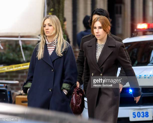 Kaley Cuoco and Zosia Mamet are seen filming 'The Flight Attendant' on March 03, 2020 in New York City.