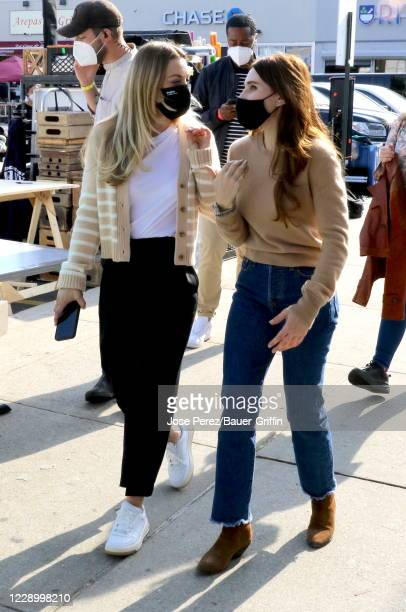 "Kaley Cuoco and Zosia Mamet are seen on the set of ""The Flight Attendant"" on October 10, 2020 in New York City."