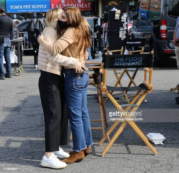 """Kaley Cuoco and Zosia Mamet are seen on the set of """"The Flight Attendant"""" on October 10, 2020 in New York City."""