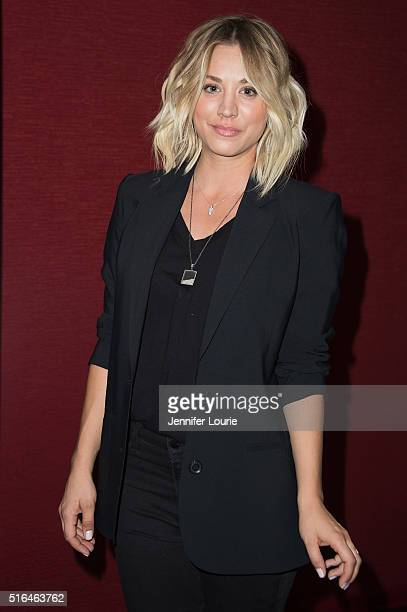 Kaley Cuoco arrives at the opening of Monterey Media Inc's Burning Bodhi at the Laemmle Monica Film Center on March 18 2016 in Santa Monica California