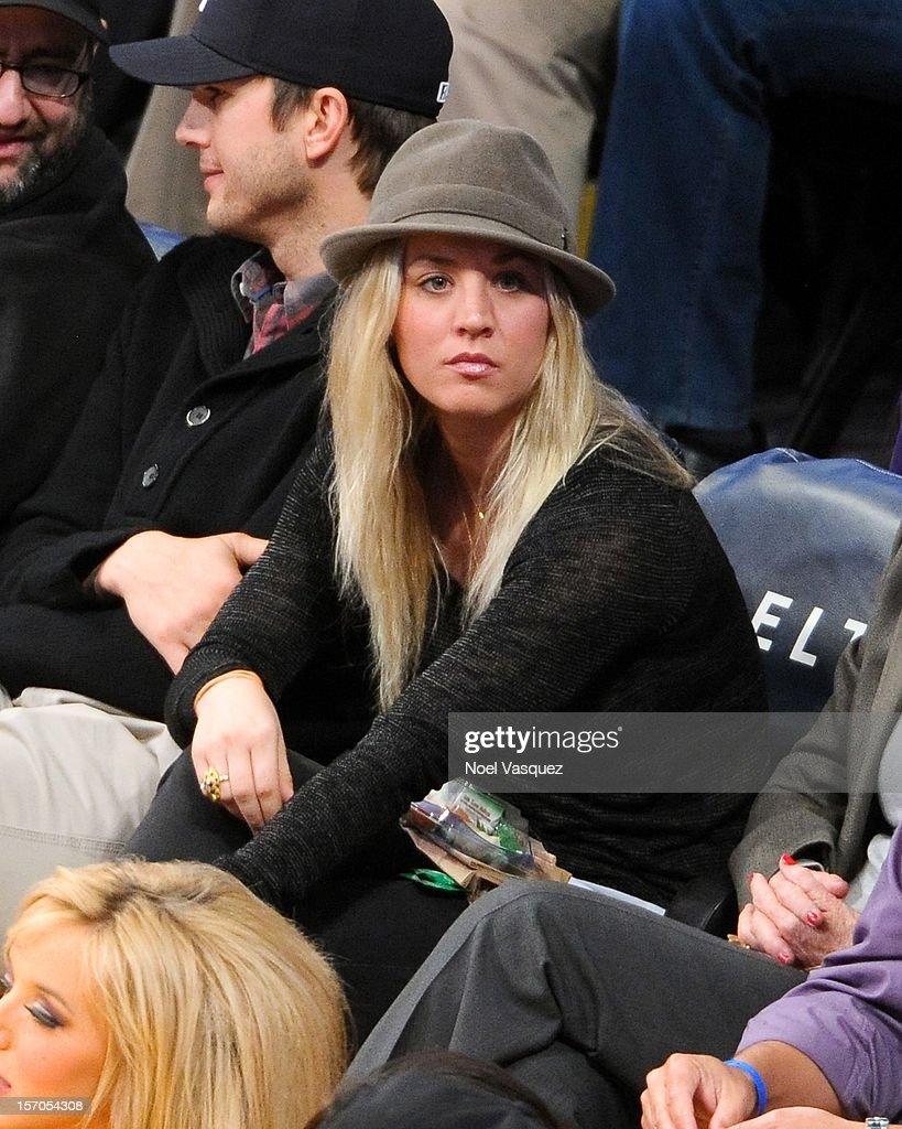 Kaley Cuoco attends a basketball game between the Indiana Pacers and the Los Angeles Lakers at Staples Center on November 27, 2012 in Los Angeles, California.