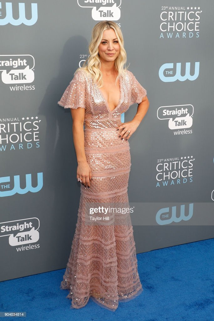 Kaley Cuoco attends the 23rd Annual Critics' Choice Awards at Barker Hangar on January 11, 2018 in Santa Monica, California.