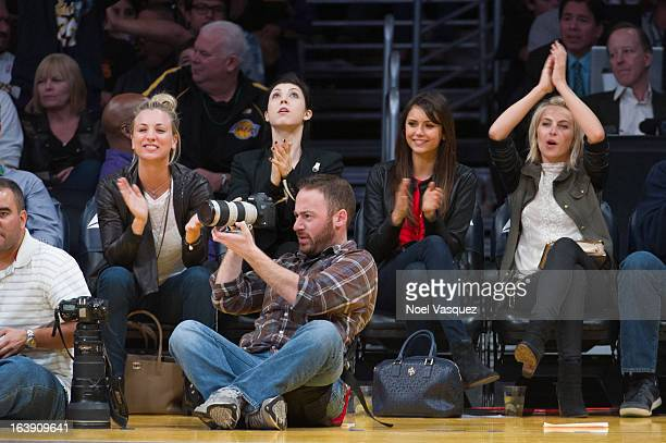 Kaley Cuoco Briana Cuoco Nina Dobrev and Julianne Hough attend a basketball game between the Sacramento Kings and the Los Angeles Lakers at Staples...