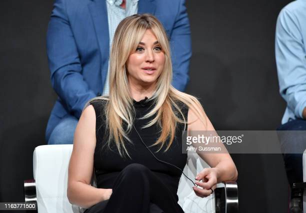 "Kaley Cuoco from ""Harley Quinn"" speaks onstage at the DC Universe panel during the 2019 Summer TCA Press Tour at The Beverly Hilton Hotel on July 23,..."