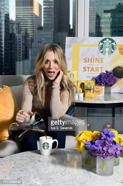 Kaley Cuoco has a positive start to her morning with Starbucks Blonde Sunrise Blend Coffee for the #StarbucksSunrise Campaign on Monday, March 09,...