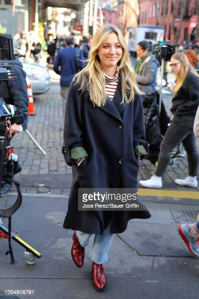 Kaley Cuoco is seen at the film set of 'The Flight Attendant' TV Series on March 03, 2020 in New York City.