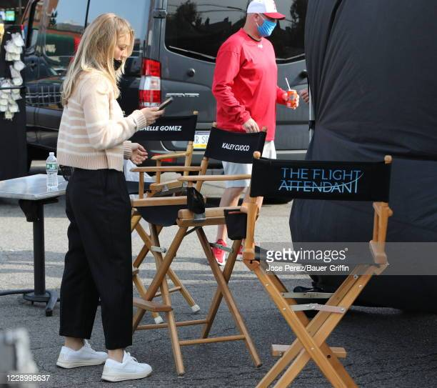 """Kaley Cuoco is seen on the set of """"The Flight Attendant"""" on October 10, 2020 in New York City."""