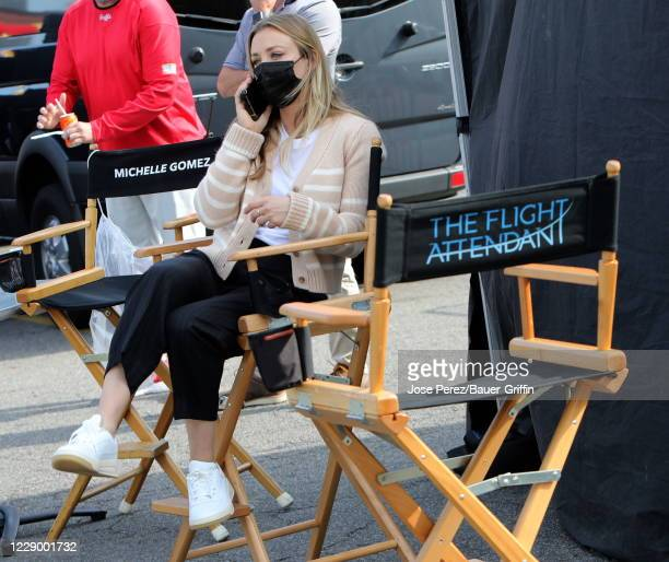 Kaley Cuoco is seen on the set of The Flight Attendant on October 10, 2020 in New York City.