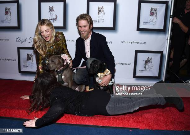 Kaley Cuoco, Karl Cook and Rebecca Corry arrive with Sally and Todd the Pitbulls at the 9th Annual Stand Up For Pits event hosted by Kaley Cuoco at...