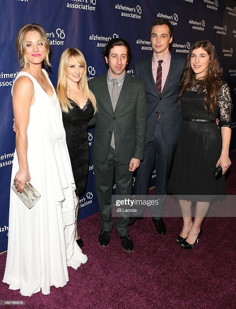 Kaley Cuoco, Melissa Rauch, Simon Helberg and Jim Parsons attend 'A Night At Sardi's' To Benefit The Alzheimer's Association held at the Beverly Hitlon Hotel on March 26, 2014 in Beverly Hills, California.