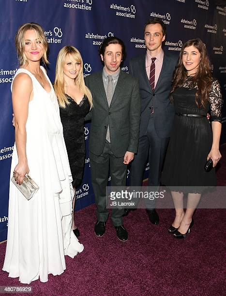 Kaley Cuoco Melissa Rauch Simon Helberg and Jim Parsons attend A Night At Sardi's To Benefit The Alzheimer's Association held at the Beverly Hitlon...