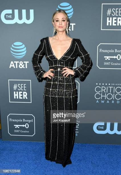 Kaley Cuoco poses in the press room during the 24th annual Critics' Choice Awards at Barker Hangar on January 13, 2019 in Santa Monica, California.