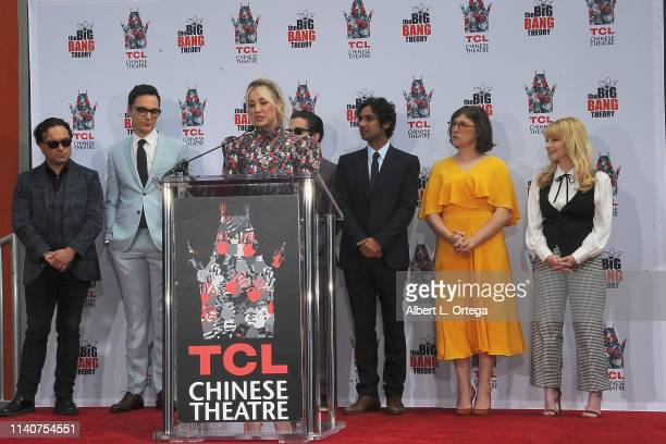 Kaley Cuoco speaks before The Cast Of The Big Bang Theory Handprints Cement Ceremony At The TCL Chinese Theatre IMAX Forecourt held on May 1 2019 in...