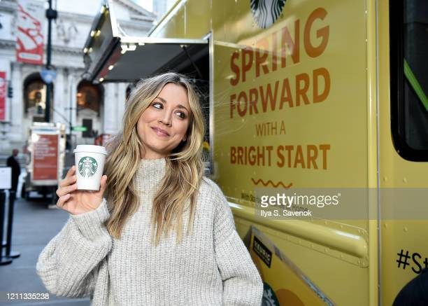 Kaley Cuoco surprises and delights New York City commuters with Starbucks Blonde Sunrise Blend Coffee for the #StarbucksSunrise Campaign on Monday,...