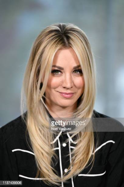 "Kaley Cuoco visits ""Extra"" at Universal Studios Hollywood on March 21, 2019 in Universal City, California."