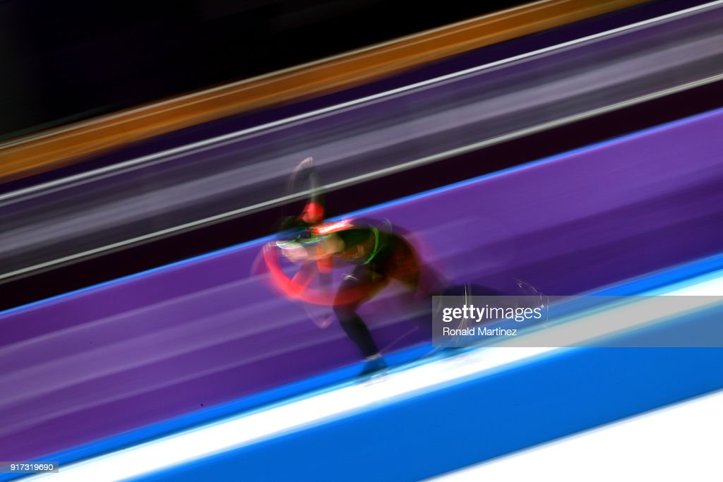 Kali Christ of Canada competes during the Ladies 1,500m Long Track Speed Skating final on day three of the PyeongChang 2018 Winter Olympic Games at Gangneung Oval on February 12, 2018 in Gangneung, South Korea.