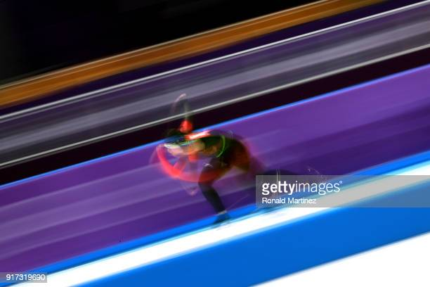 Kali Christ of Canada competes during the Ladies 1,500m Long Track Speed Skating final on day three of the PyeongChang 2018 Winter Olympic Games at...