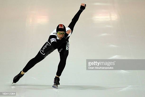 Kali Christ of Canada competes in the 1000m Ladies race on Day 2 of the Essent ISU World Cup Speed Skating Championships 2013 at Thialf Stadium on...