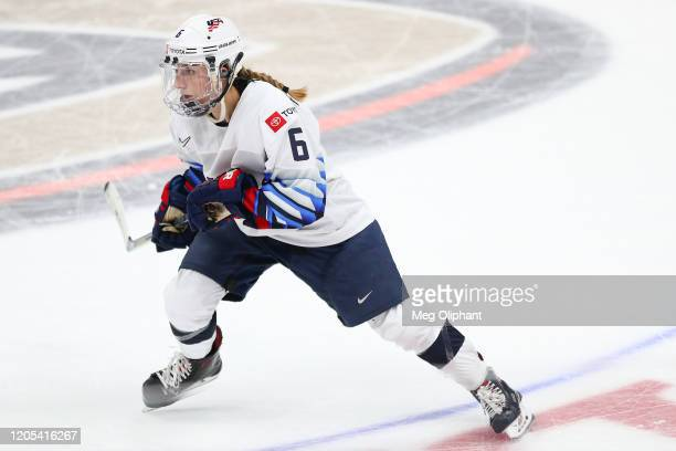 Kali Flanagan of the U.S. Women's Hockey Team during the game against the Canadian Women's National Team at Honda Center on February 08, 2020 in...